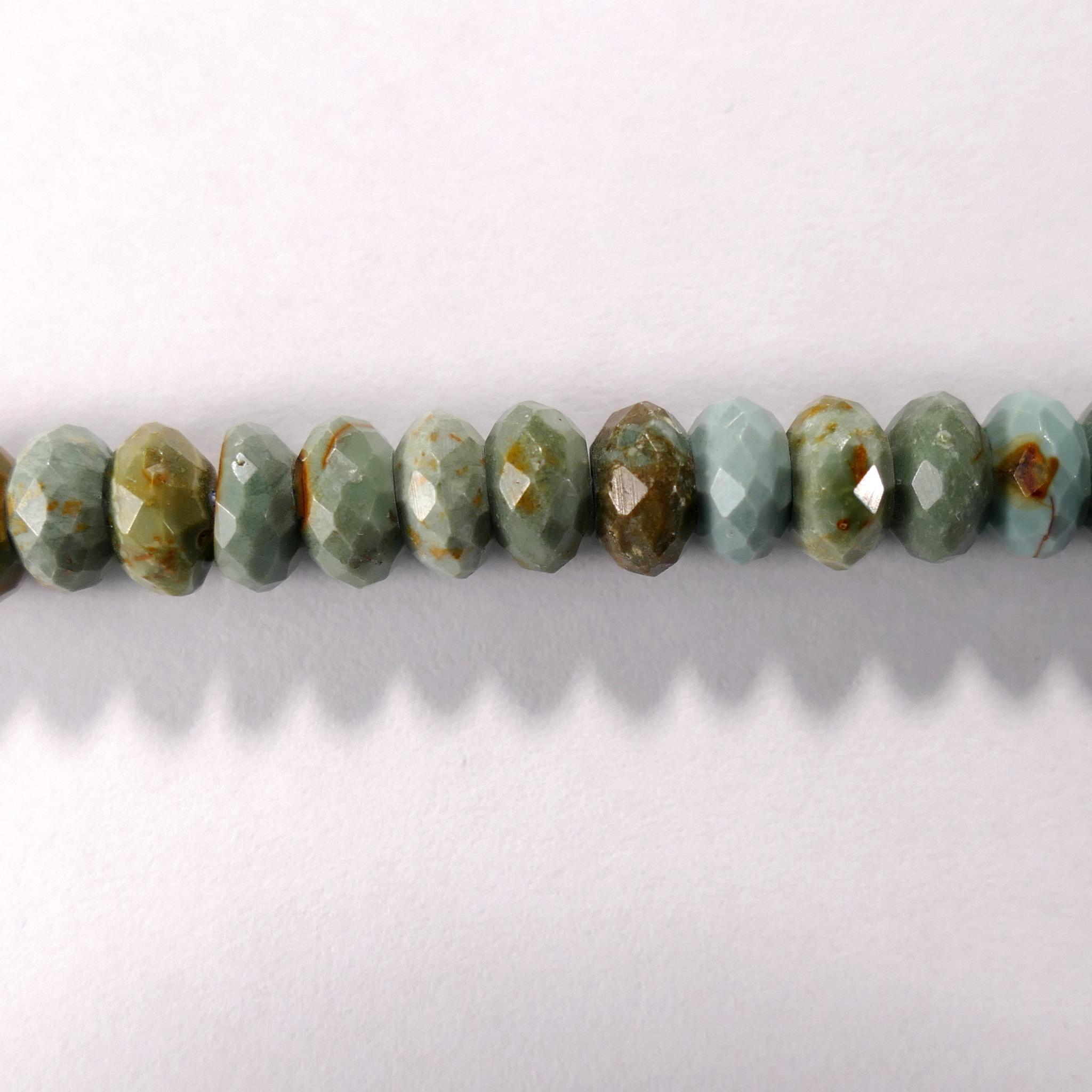 Бусина из бирюзы (Африка), фигурная, 4x7 мм (рондель, граненая)