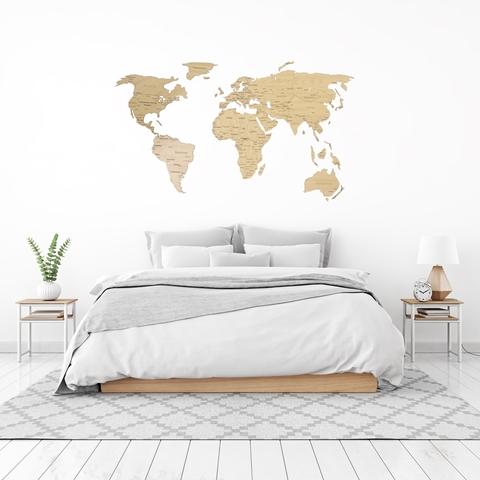 Деревянная карта мира 80х40 см Continent Еdition с гравировкой материков, дуб