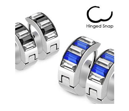 SE2719-CB Мужские серьги из стали со вставками синего цвета, «Spikes»