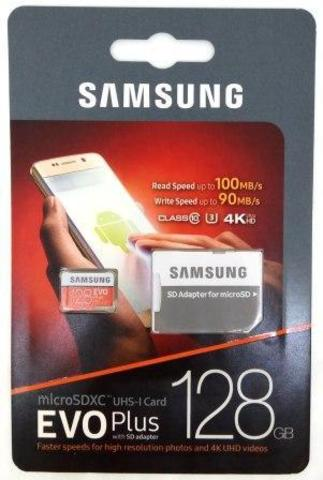 micro SD карта памяти 128GB Samsung Class 10 Evo Plus UHS-1 U3 (90 Mb/s)+SD aдаптер