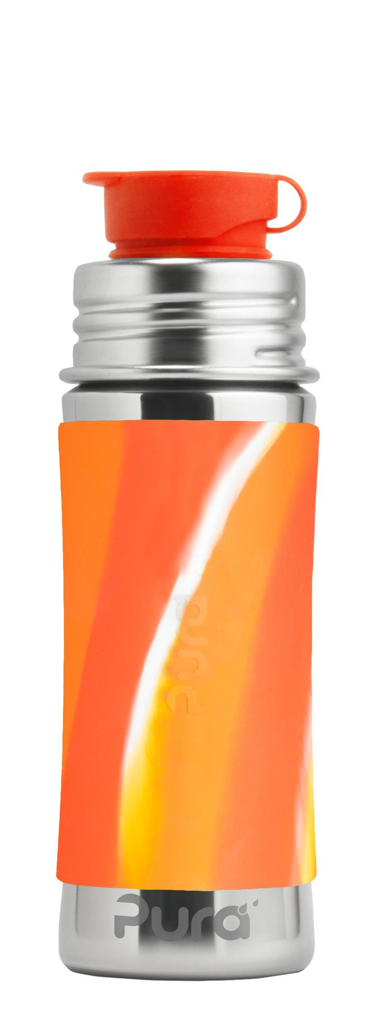 Детская стальная спортивная бутылочка Pura Kiki 325 мл (оранжевый вихрь)