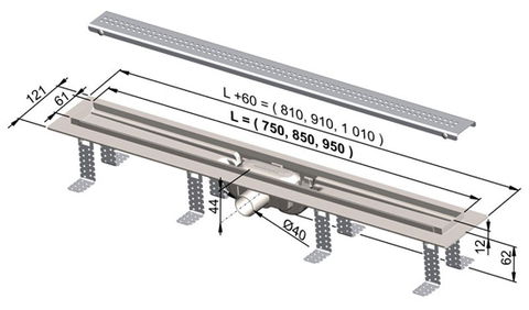 Душевой дренажный канал Alcaplast 850 мм (APZ8 Simple)
