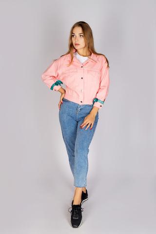 джинсовая куртка розовая женская купить