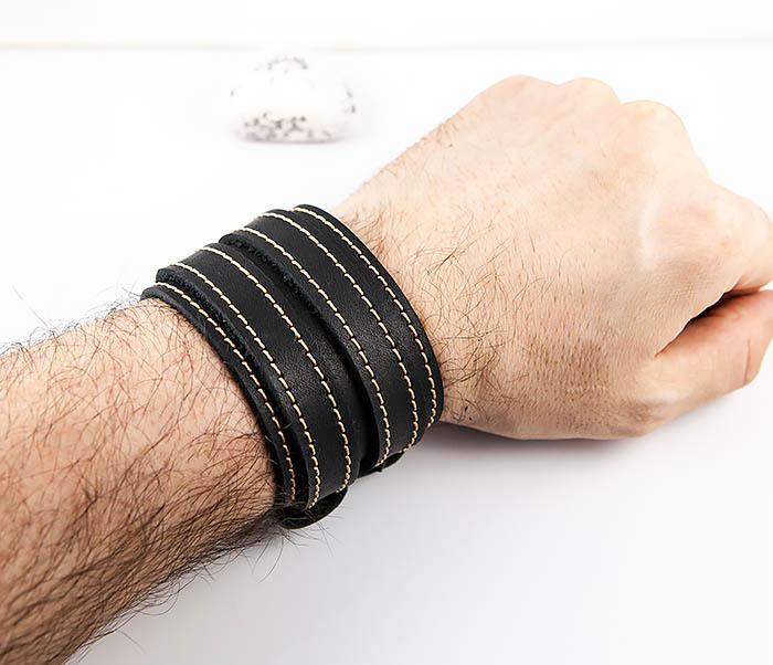 BL391-3 Широкий черный браслет ручной работы из натуральной кожи. «Boroda Design» фото 08