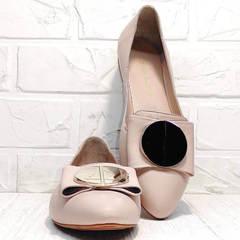 Слиперы балетки кожаные женские Wollen G192-878-322 Light Pink.