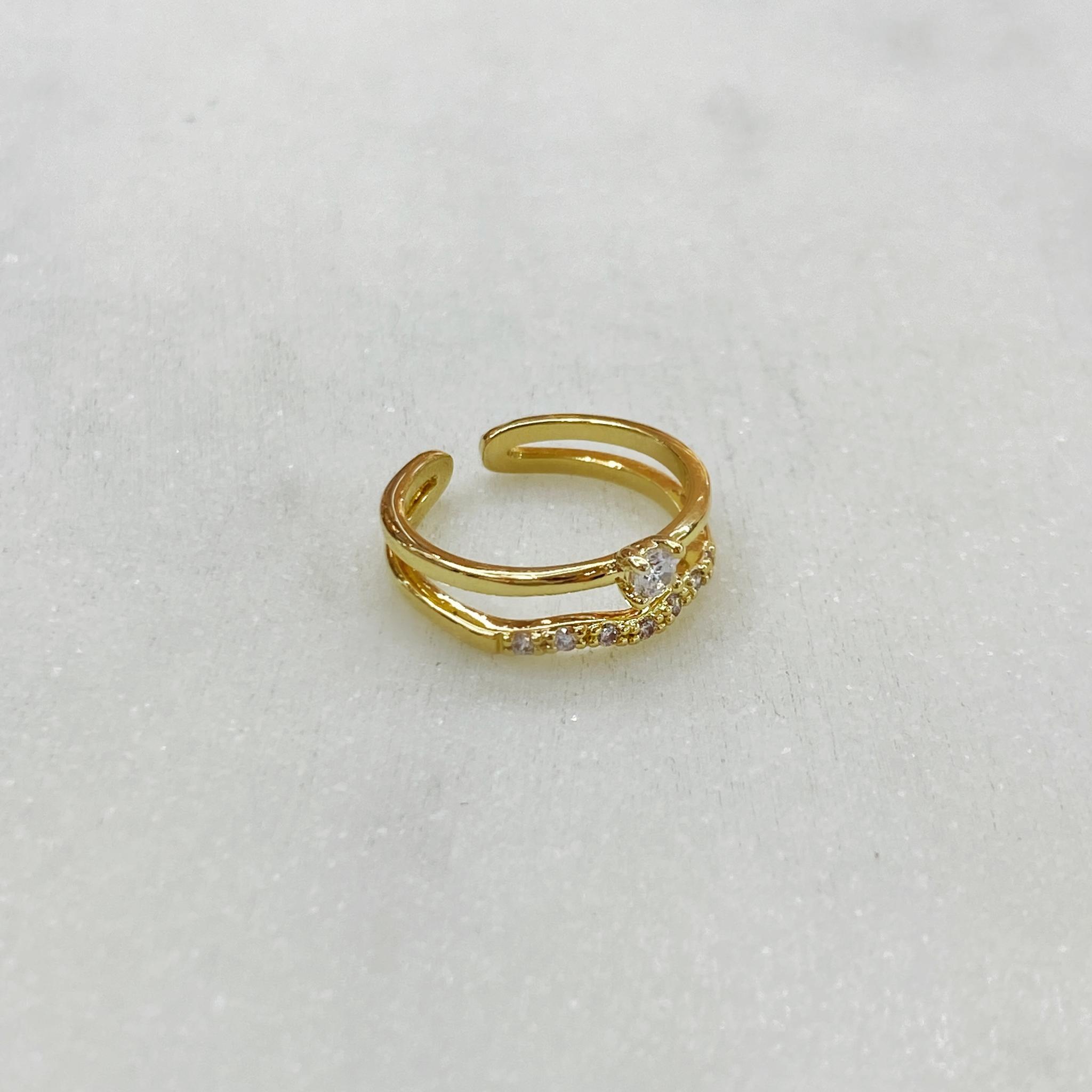 Кольцо на фалангу двойное с волной и цирконом (золотистый)