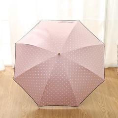 Женский облегченный зонт-трость, с защитой от УФ, ветрозащитный, 8 спиц, в стиле ретро, мелкий горох (розовый)