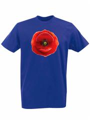 Футболка с принтом Цветы (Маки) синяя 001