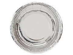Тарелка фольгированная Серебро / 23см, 6 шт.