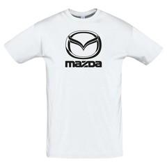 Футболка с принтом Мазда (MAZDA) белая
