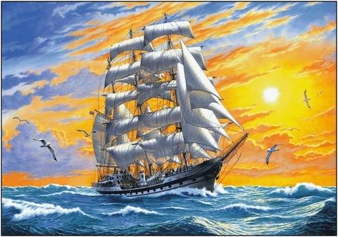 Алмазная Мозаика 20x30 Корабль в море на рассвете