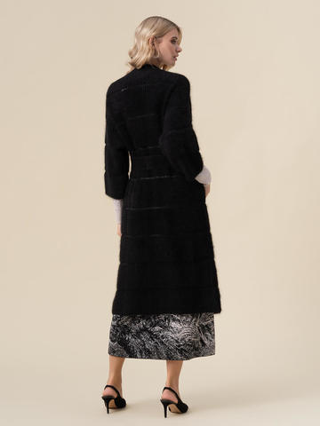 Женский кардиган черного цвета из ангоры - фото 4