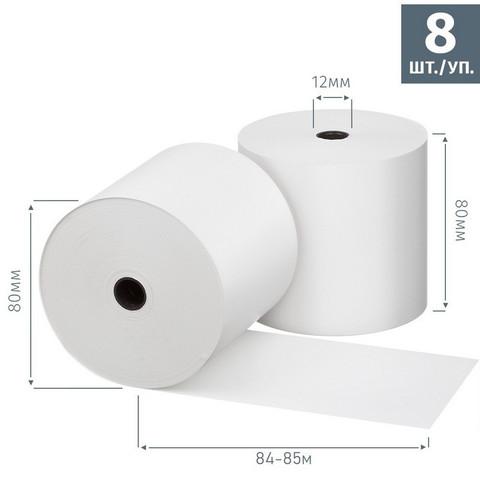 Чековая лента из термобумаги Promega jet 80 мм (диаметр 80 мм, намотка 84-85 м, втулка 12 мм, 8 штук в упаковке)