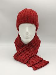Мужской комплект шапка по голове с отворотом и шарф, красный меланж