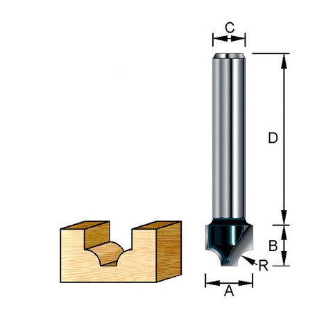 Фреза пазовая фасонная (каплевидная) 27х32х15х8 мм; R=8 мм