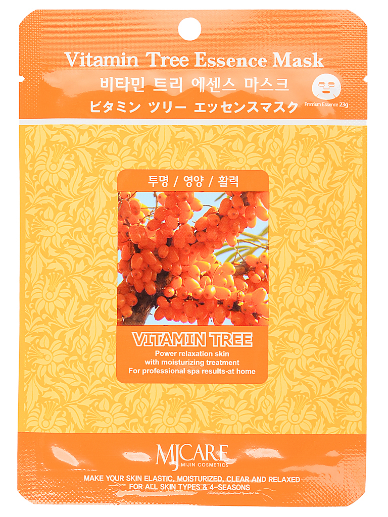 Основной уход Маска тканевая для лица облепиха Vitamin Tree Essence Mask МЖ55.jpg