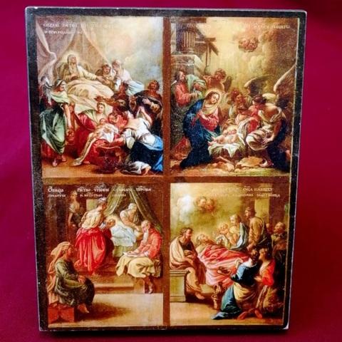 Икона Четыре великих Рождества на левкасе на дереве мастерская Иконный Дом