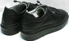 Кожаные женские кроссовки черного цвета Rozen M-520 All Black.