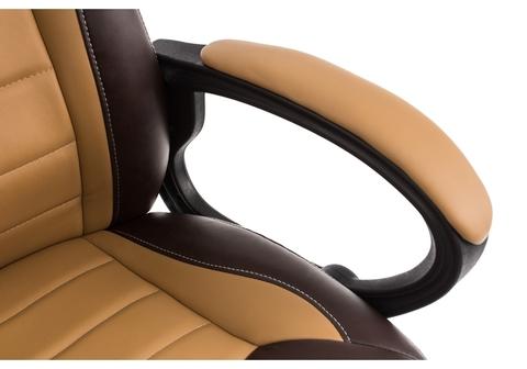 Офисное кресло для персонала и руководителя Компьютерное Kadis коричневое / бежевое 62*62*100 Черный пластик /Коричневый / бежевый