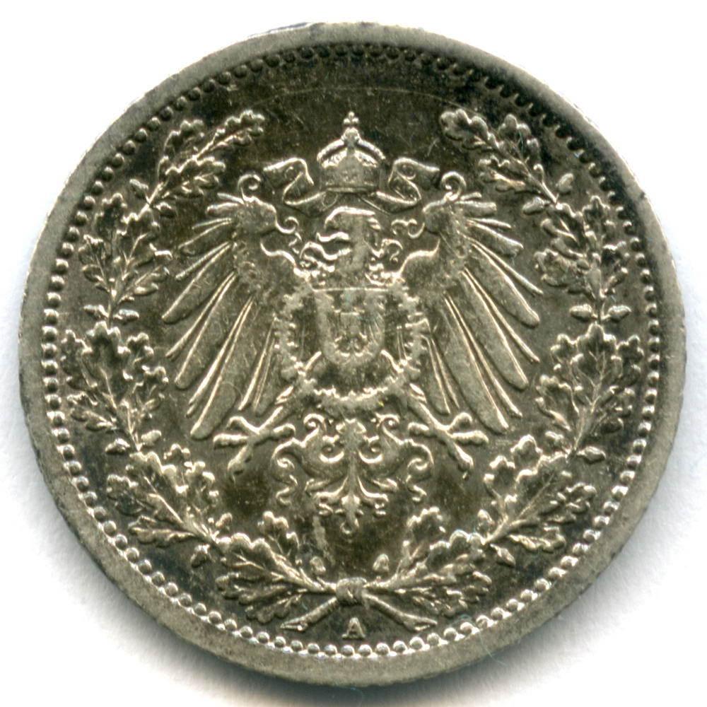 1/2 марки 1914 (A) Германия Серебро VF-XF