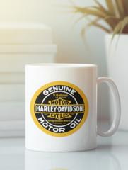Кружка с рисунком Harley-Davidson (Харли-Дэвидсон) белая 004