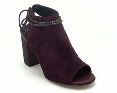 Босоножки цвет бордо, натуральный велюр на устойчивом каблуке