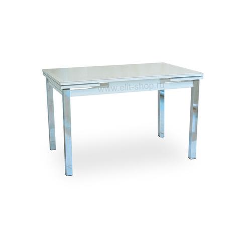 Стол ДАЛАСИ КОЖА Е-20 белый / стекло белое / подстолье белое / опора №3 хром / 110(170)х74см