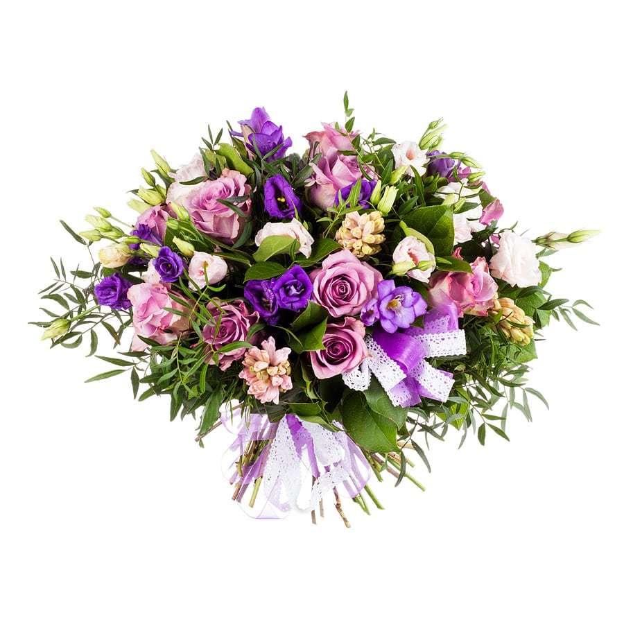 Букет из роз и гиацинтов - Лиловая роскошь