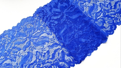 Эластичное кружево, 22 см, синий, м