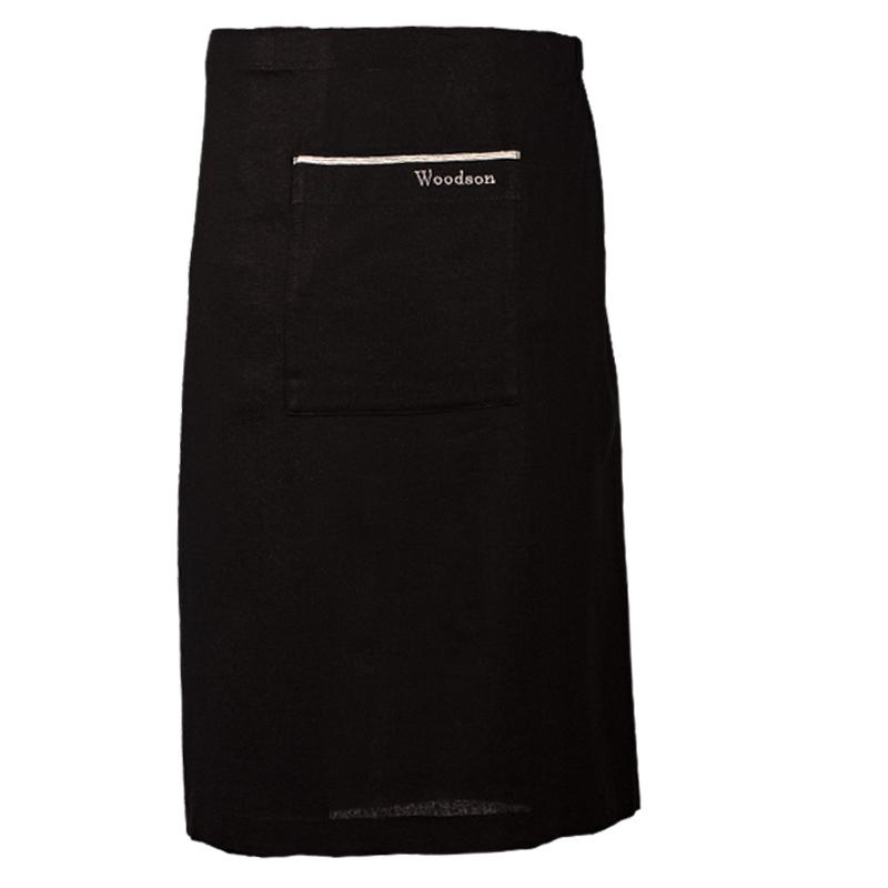 Килт льняной мужской чёрный с серой полосой и карманом
