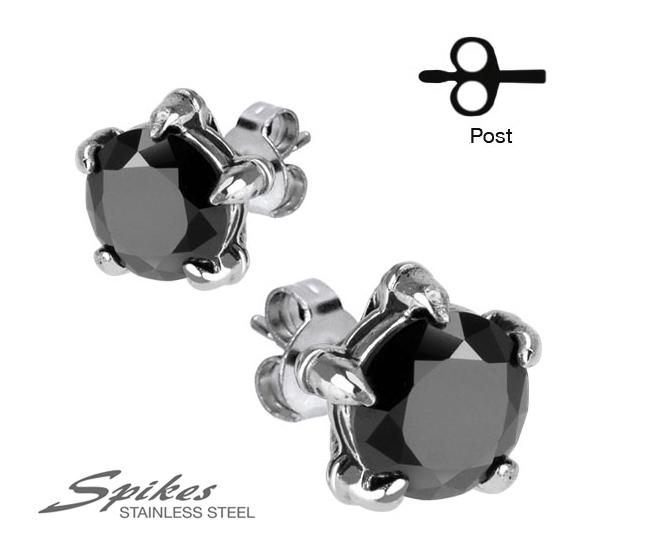 SSEM-131 Мужские серьги из ювелирной стали с черным камнем (8 мм), «Spikes»