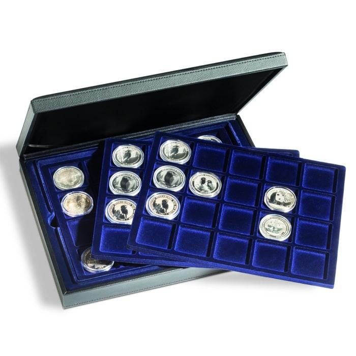Кассета для монет PRESIDIO на 60 монет в капсулах D до 48 мм, 3 вкладыша с синей поверхностью под велюр