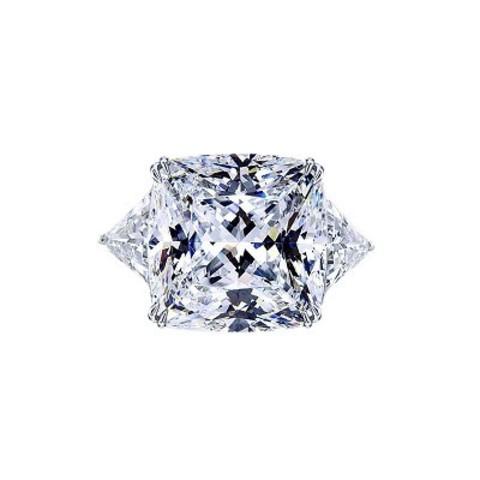 4848- Кольцо из серебра с квадратным цирконом бриллиантовой огранки