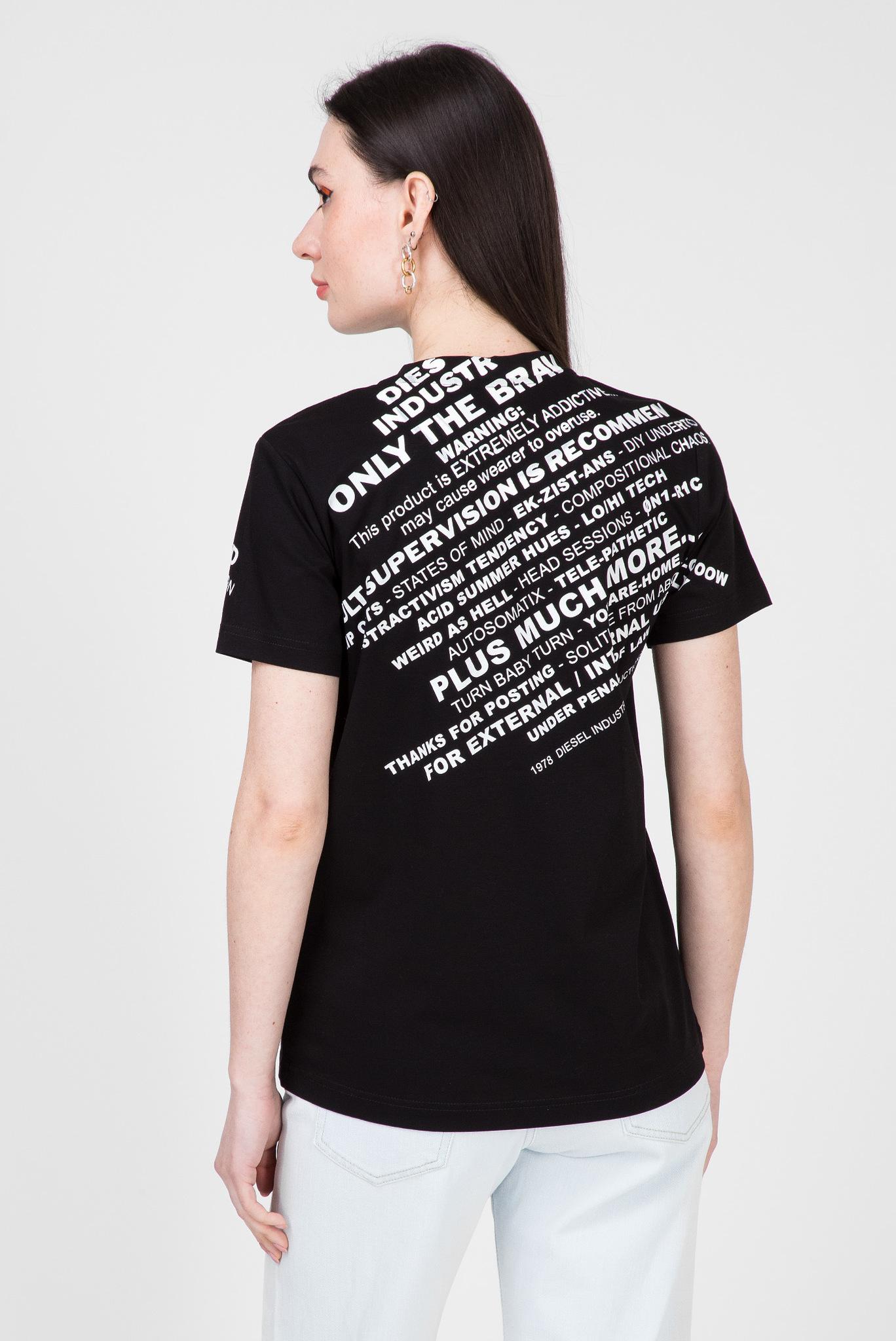 Женская черная футболка T-SILY-S1 Diesel