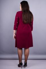 Жемчуг. Красивое платье для дам с пышными формами. Бордо.
