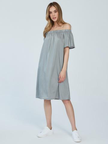 BM Платье в полоску на резинке Оливка