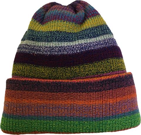 Зимняя шапка бини с отворотом полосатая