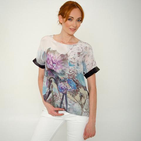 Шелковая блузка батик Артишок