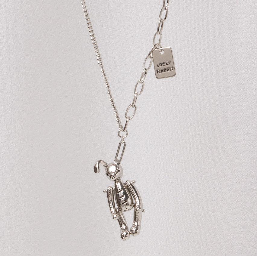Кулон Счастливый Кролик на комбинированной цепочке (серебристый)