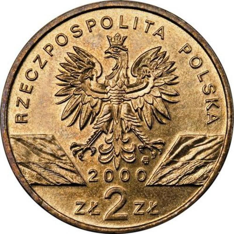 2 злотых Удод (животный мир) 2000 год, Польша. UNC