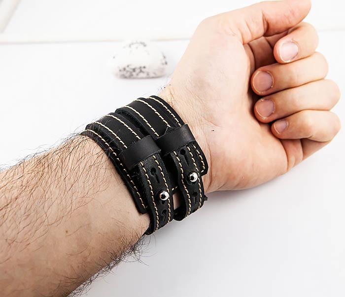 BL391-3 Широкий черный браслет ручной работы из натуральной кожи. «Boroda Design» фото 09