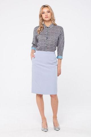 Фото свободная легкая блуза с геометрическим принтом и укороченным рукавом - Блуза Г707-342 (1)
