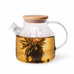 6537 FISSMAN Чайник заварочный 1200мл с бамбуковой крышкой и стальным фильтром (стекло)