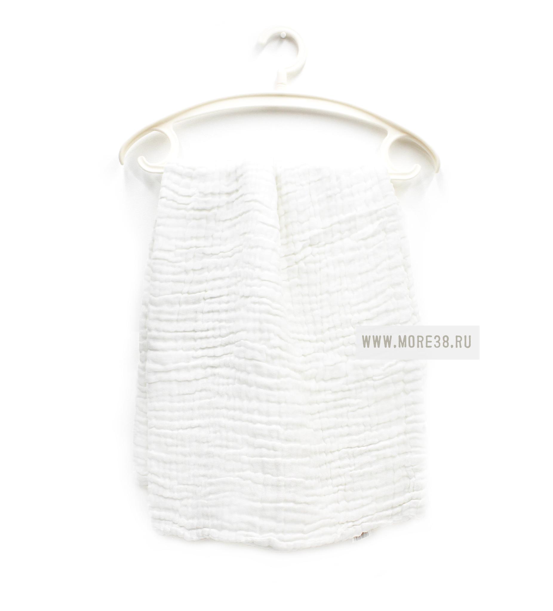 Муслиновое одеялко,6 слоёв-белое(100х100 см)