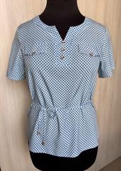 Джемма. Блуза великих розмірів з пояском, короткий рукав. Блакитний