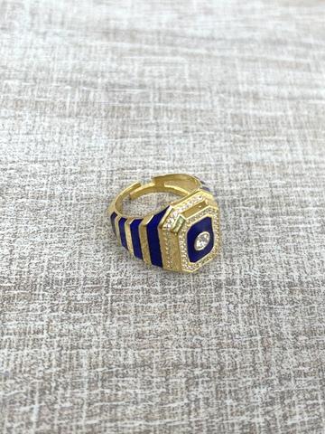 Кольцо Ситрисия, позолота с синими полосками
