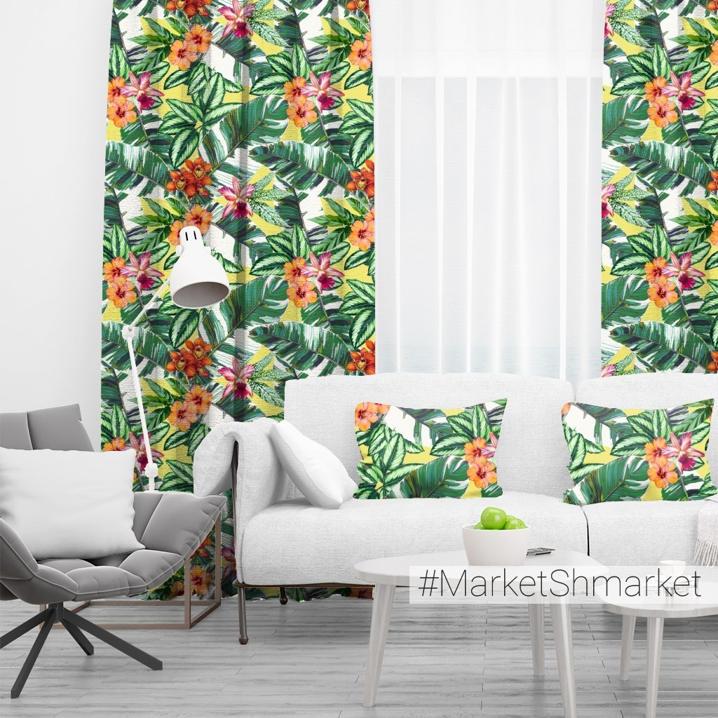 орхидеи, гибискус и листья банана_03