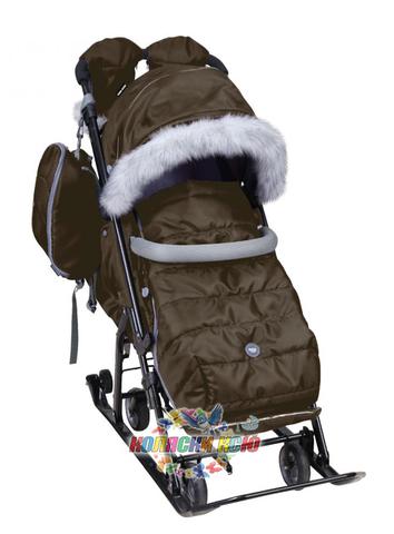 Санки-коляска «Ника детям» 7-5S коричневые