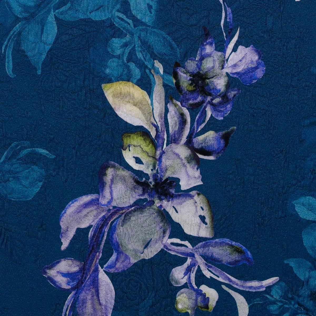 Хлопковое матлассе с шёлком фиолетовое на морской волне