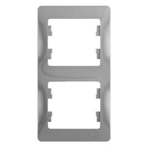 Рамка на 2 поста, вертикальная. Цвет Алюминий. Schneider Electric Glossa. GSL000306